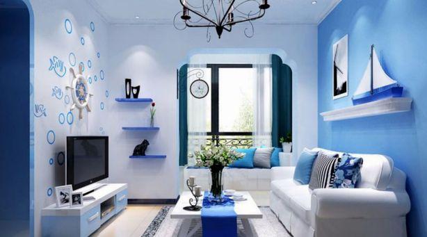 Các kiểu giấy dán tường màu xanh đẹp phòng khách