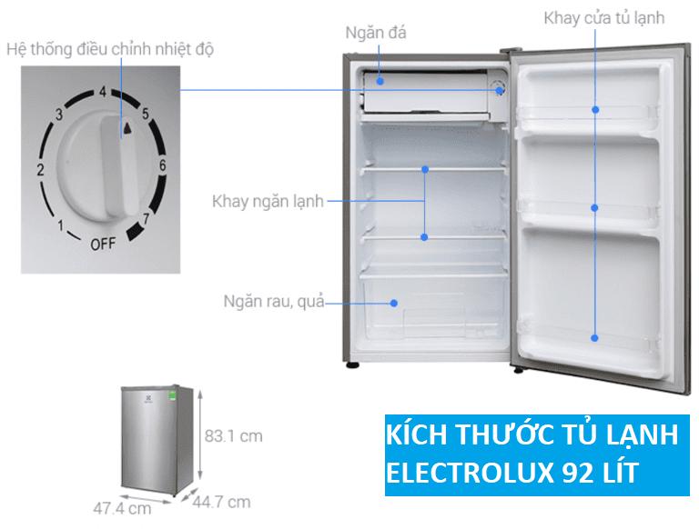Tủ lạnh side by side mini Electrolux (92 lít)