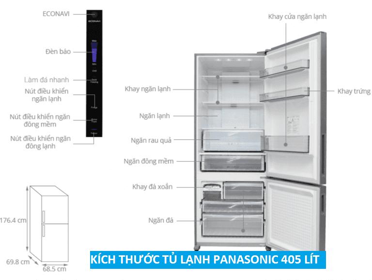 Tủ lạnh side by side 2 cánh Panasonic 405 lít NR-BX468XSVN
