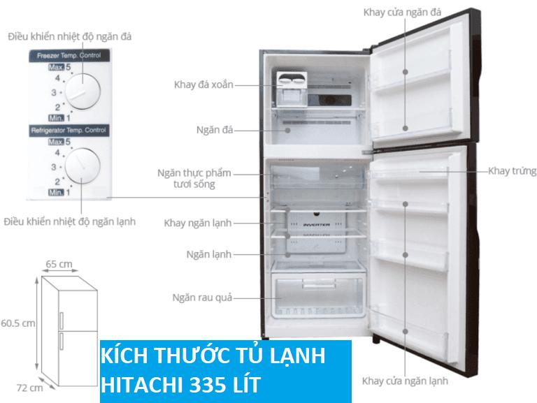 Tủ lạnh side by side Hitachi 335 lít R-VG400PGV3 GBW