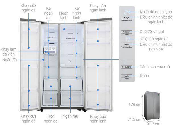 Tủ lạnh side by side 2 cánh Samsung Inverter 647 lít RS62R5001M9/SV