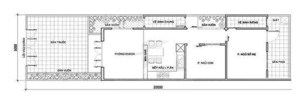 Bản vẽ thiết kế nhà ống 2 tầng 1 phòng ngủ