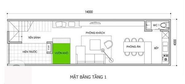 Mặt bằng tầng 1 nhà ống 2 tầng 3 phòng ngủ