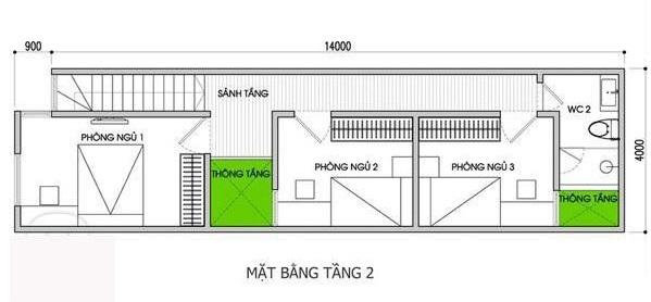 Mặt bằng tầng 2 nhà ống 3 tầng 100m2