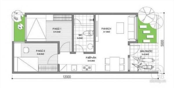 Bản vẽ nhà cấp 4 diện tích 5x12m