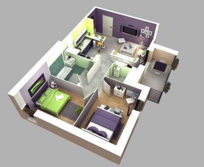 Mẫu nhà cấp 4 2 phòng ngủ 1 phòng thờ đẹp => Thiết kế 1