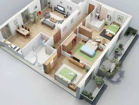 Bản vẽ nhà cấp 4 mái thái 3 phòng ngủ chi phí 300 triệu