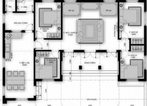 Bản vẽ nhà cấp 4 mái thái 4 phòng ngủ 300 triệu