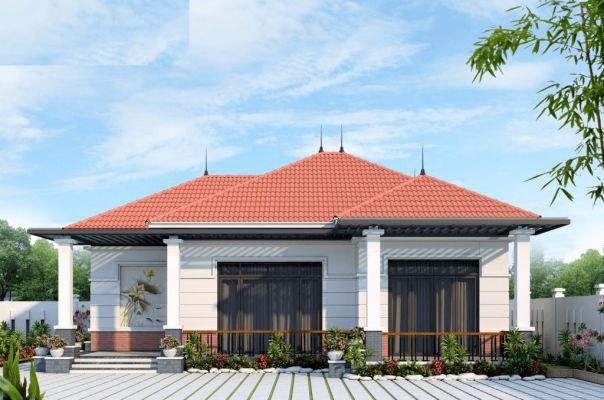 Thiết kế nhà vườn 1 tầng mái thái đẹp