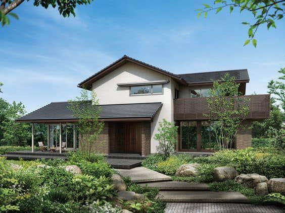 Xu hướng thiết kế nhà vườn 2 tầng mái nhật đẹp