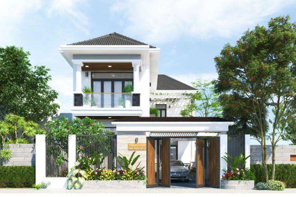 Mẫu thiết kế biệt thự 2 tầng sân vườn mái thái 100m2