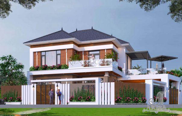 Mô hình kiến trúc biệt thự sân vườn 2 tầng có 4 phòng ngủ hiện đại