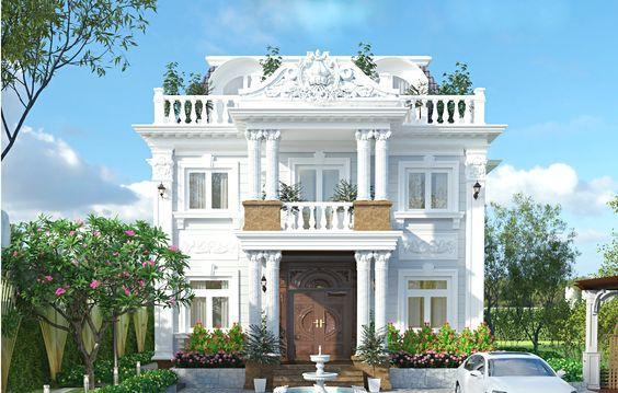 Mẫu biệt thự nhà vườn 2 tầng kiểu pháp đẹp nhất