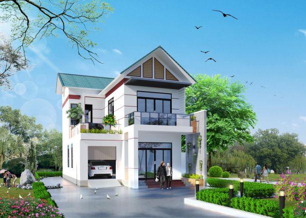 Mô hình biệt thự 2 tầng sân vườn mái thái ở nông thôn