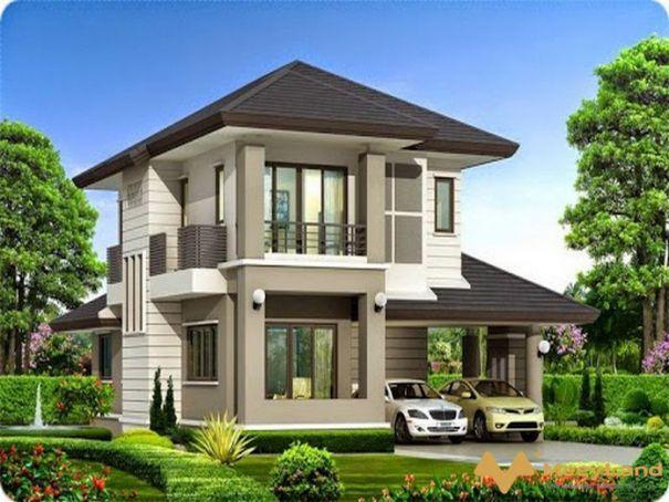 Mẫu biệt thự mini nhà vườn 2 tầng chữ l đẹp