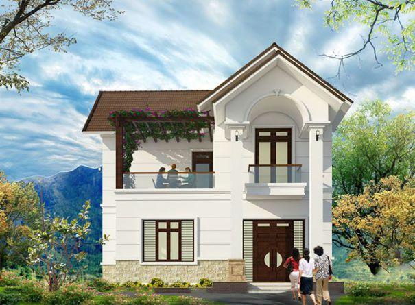 Mẫu biệt thự mini nhà vườn 2 tầng mái thái