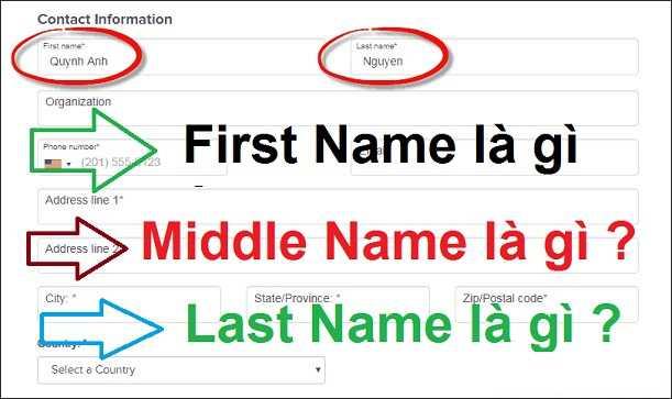 first name là gì