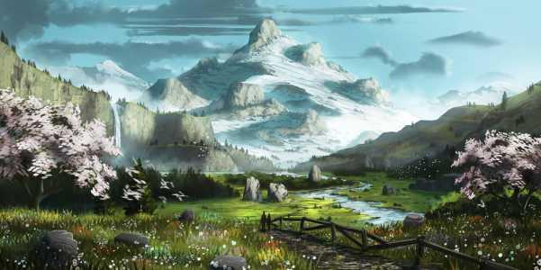 Tranh phong cảnh anime đơn giản