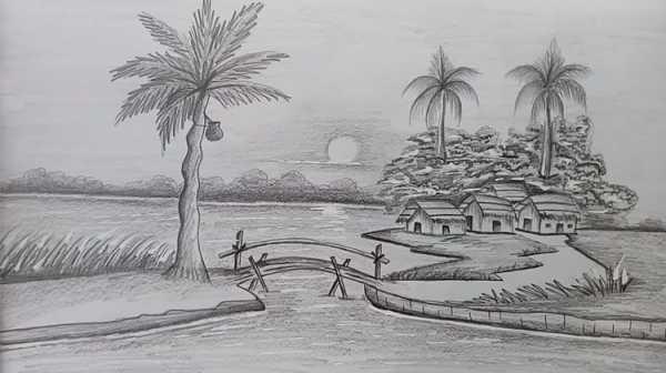 Cách vẽ tranh phong cảnh đơn giản bằng bút chì