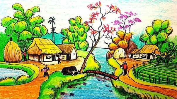 Tranh phong cảnh làng quê lớp 6