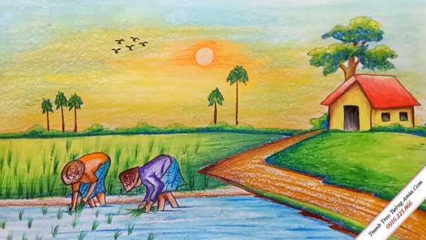 Vẽ tranh đề tài phong cảnh làng quê lớp 7
