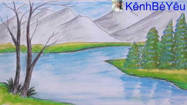 Bức tranh phong cảnh núi rừng đơn giản