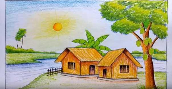 Tranh phong cảnh quê hương đơn giản dễ vẽ