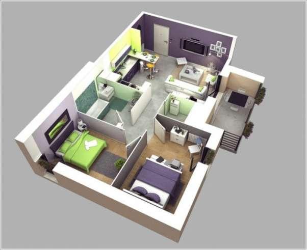 Bản vẽ mặt bằng công năng nhà cấp 4 mái thái 2 phòng ngủ