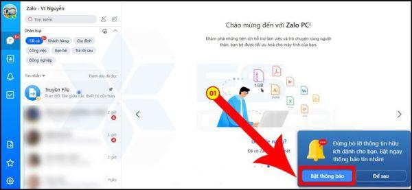 Bật thông báo tin nhắn Zalo