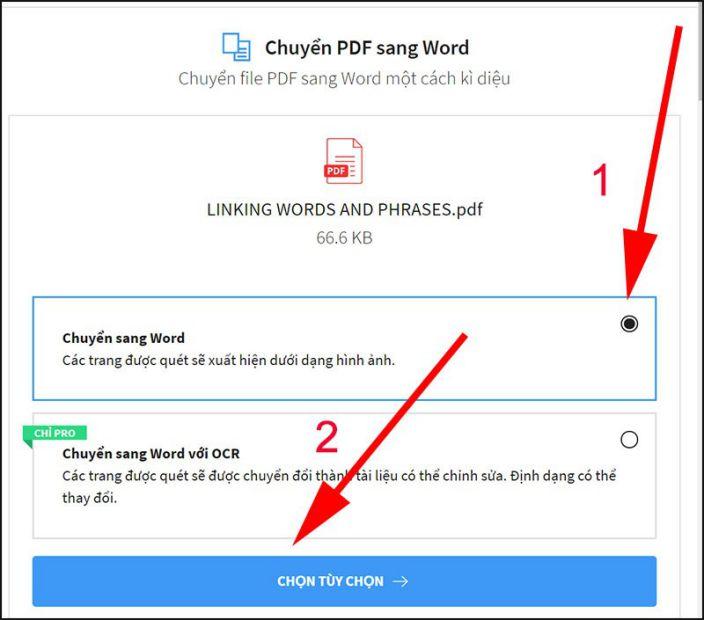 Bắt đầu chuyển đổi file PDF sang Word