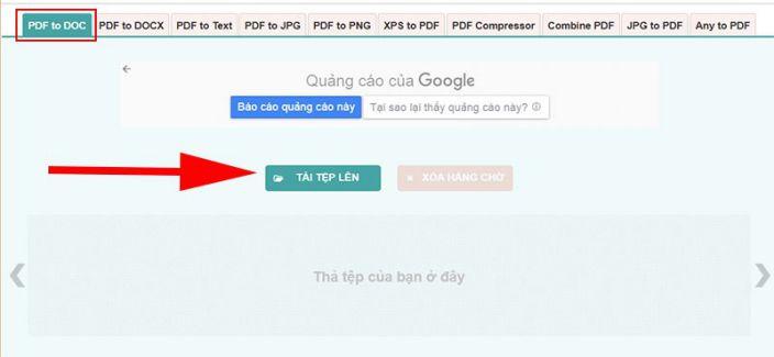 Tải tệp tin PDF lên ứng dụng pdf2doc