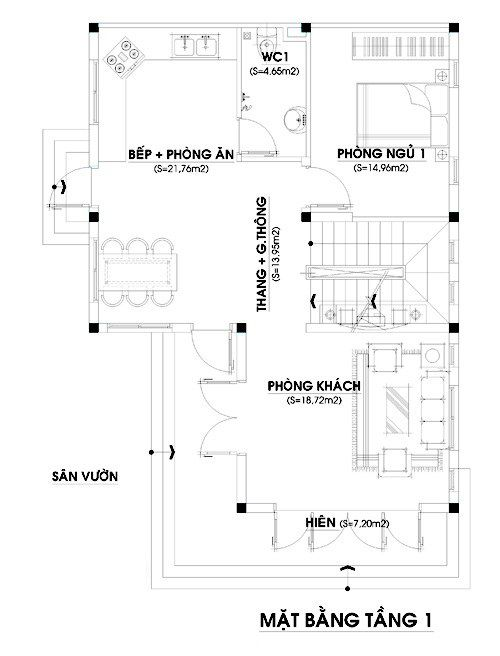 Mặt bằng chức năng tầng 1 nhà 2 tầng diện tích 80m2