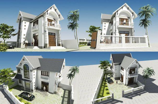 Phối cảnh thiết kế mẫu nhà 2 tầng 80m2 hiện đại