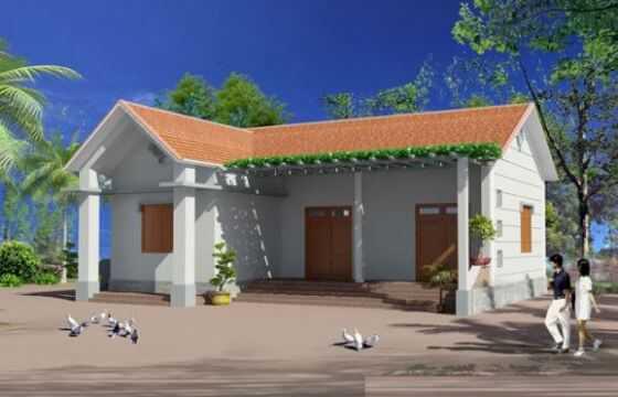 Phối cảnh thiết kế nhà cấp 4 hình chữ L khu vực nông thôn