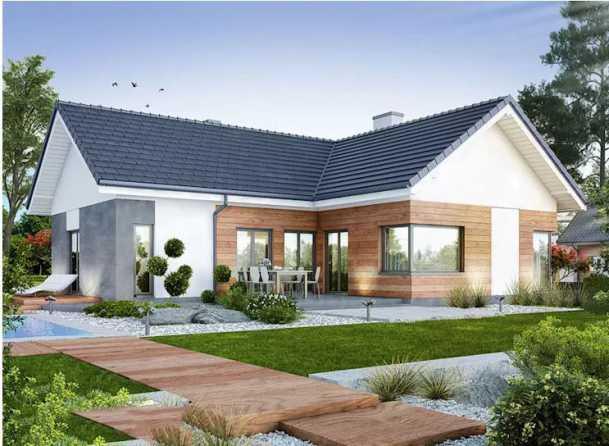 Thiết kế nhà cấp 4 hình chữ L kiểu sân vườn