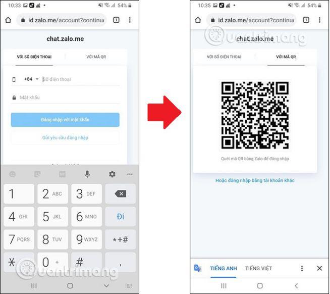 Điện thoại cài ứng dụng Zalo quét mã QR