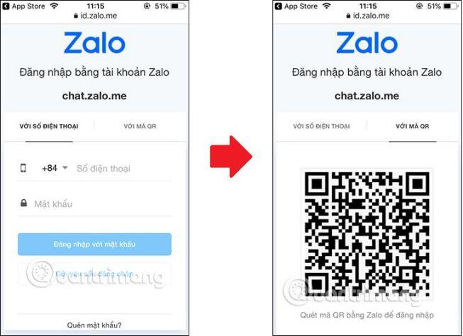 Đăng nhập tài khoản Zalo qua số điện thoại hoặc qua mã QR