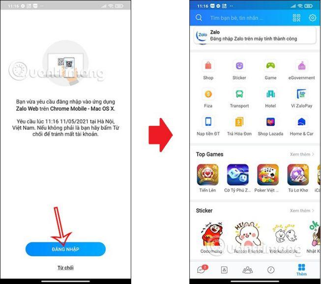 Điện thoại Android cài ứng dụng Zalo
