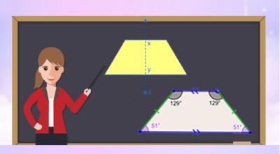 Diện tích hình thang thường vuông và cân.