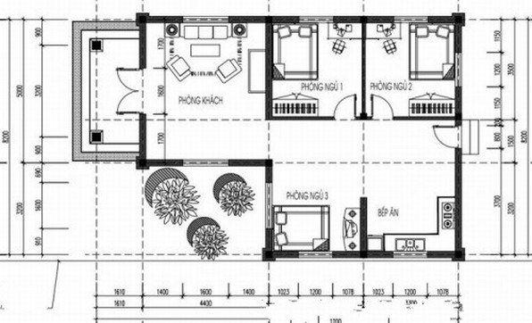 Thiết kế nhà 1 tầng hình chữ l có 3 phòng ngủ - Hình 2