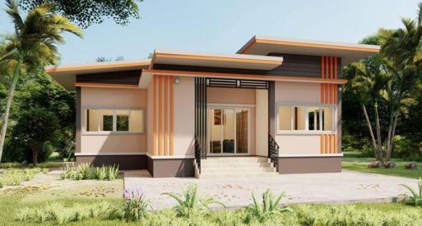 Thiết kế nhà 1 tầng mái bằng có 3 phòng ngủ - Hình 1