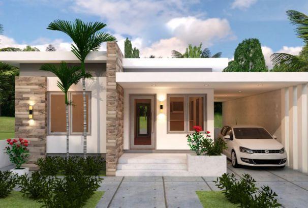 Thiết kế nhà 1 tầng mái bằng có 3 phòng ngủ - Hình 2