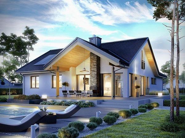 Thiết kế nhà 1 tầng có 3 phòng ngủ mái thái - Hình 1