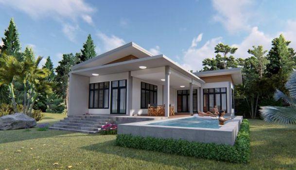 Thiết kế nhà 1 tầng sân vườn có 3 phòng ngủ - Hình 1