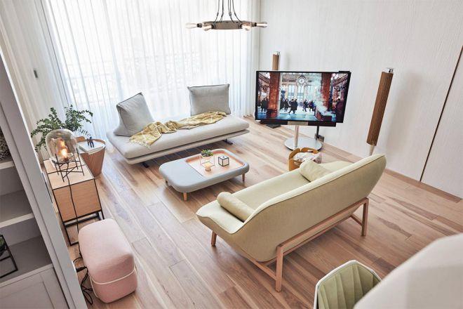 Thiết kế linh hoạt với kiểu dáng đẹp cho phòng khách chung cư