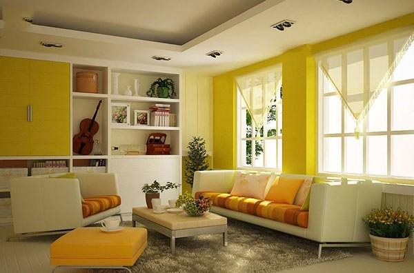 Tạo nên không gian phòng khách thêm sinh động bằng màu đơn sắc