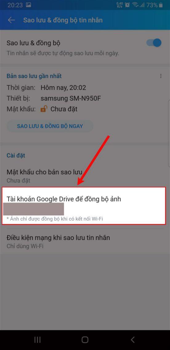 Chọn tài khoản Google Drive để đồng bộ ảnh.