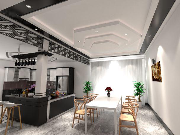 Mẫu trần thạch cao phòng bếp nhà phố hiện đại