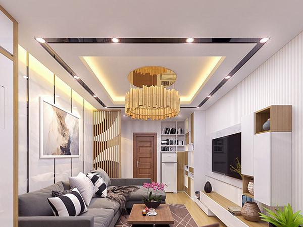 Mẫu trần thạch cao phòng khách nhà phố