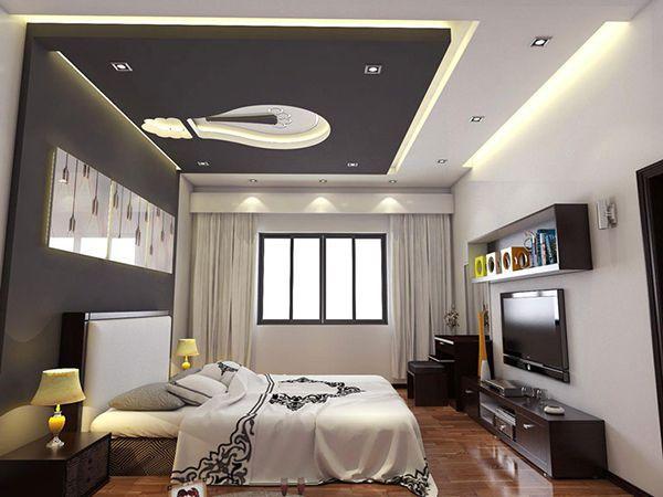 Mẫu trần thạch cao phòng ngủ nhà ống